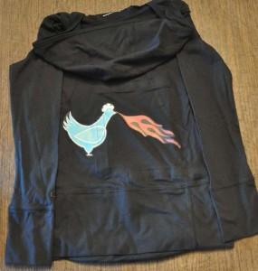 Logo ironed on to sweatshirt.