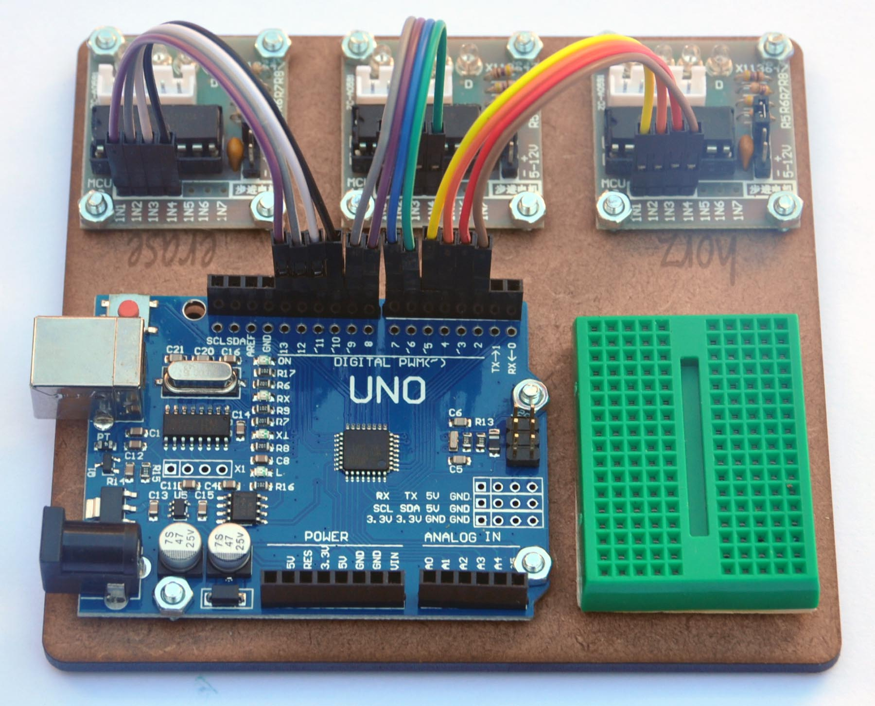 stepper motor drivers wired to arduino uno as shown stepper motor wiring diagram 6 pin plug
